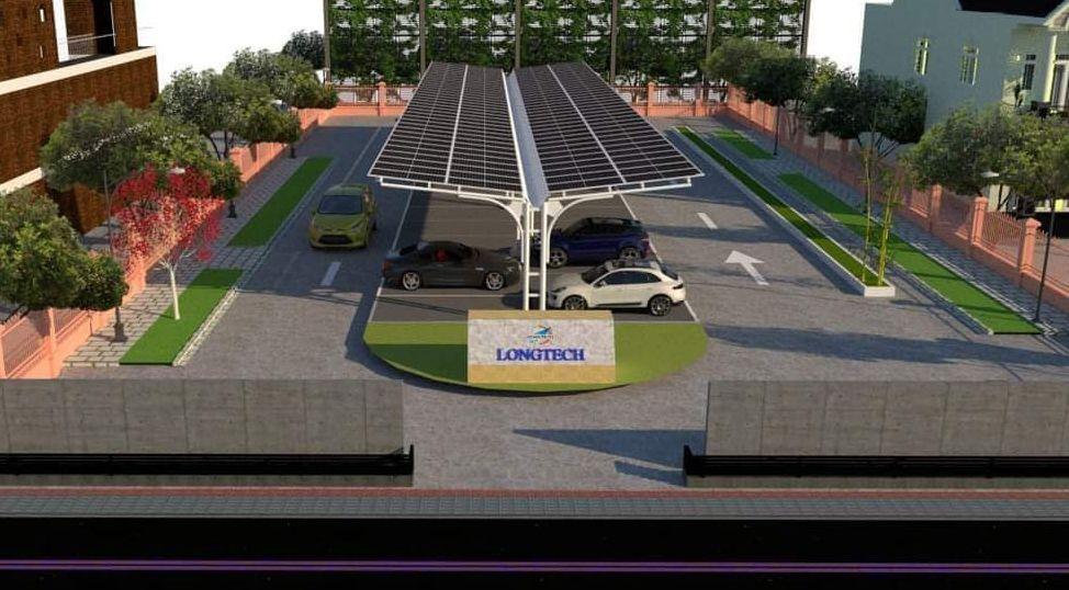 Bãi đổ xe năng lượng mặt trời Long tech